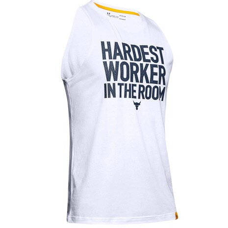 UA Project Rock カットオフタンク HARDEST WORKER IN THE ROOM 1345816 WHT/ADY AT