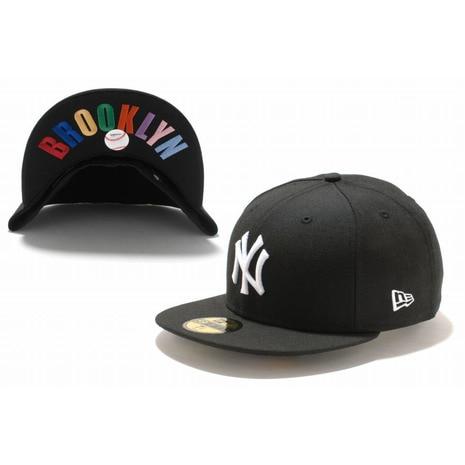 59FIFTY UNDERVISOR ニューヨーク・ヤンキース ブラック×ホワイト BROOKLYNマルチカラー 11308540